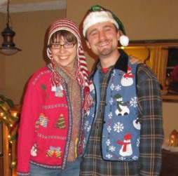 Daniel and me at a funny Christmas sweater party.