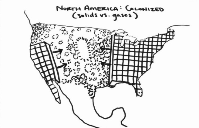 North America colonized - solids v gases