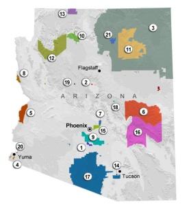 Yavapai Arizona Reservations Map